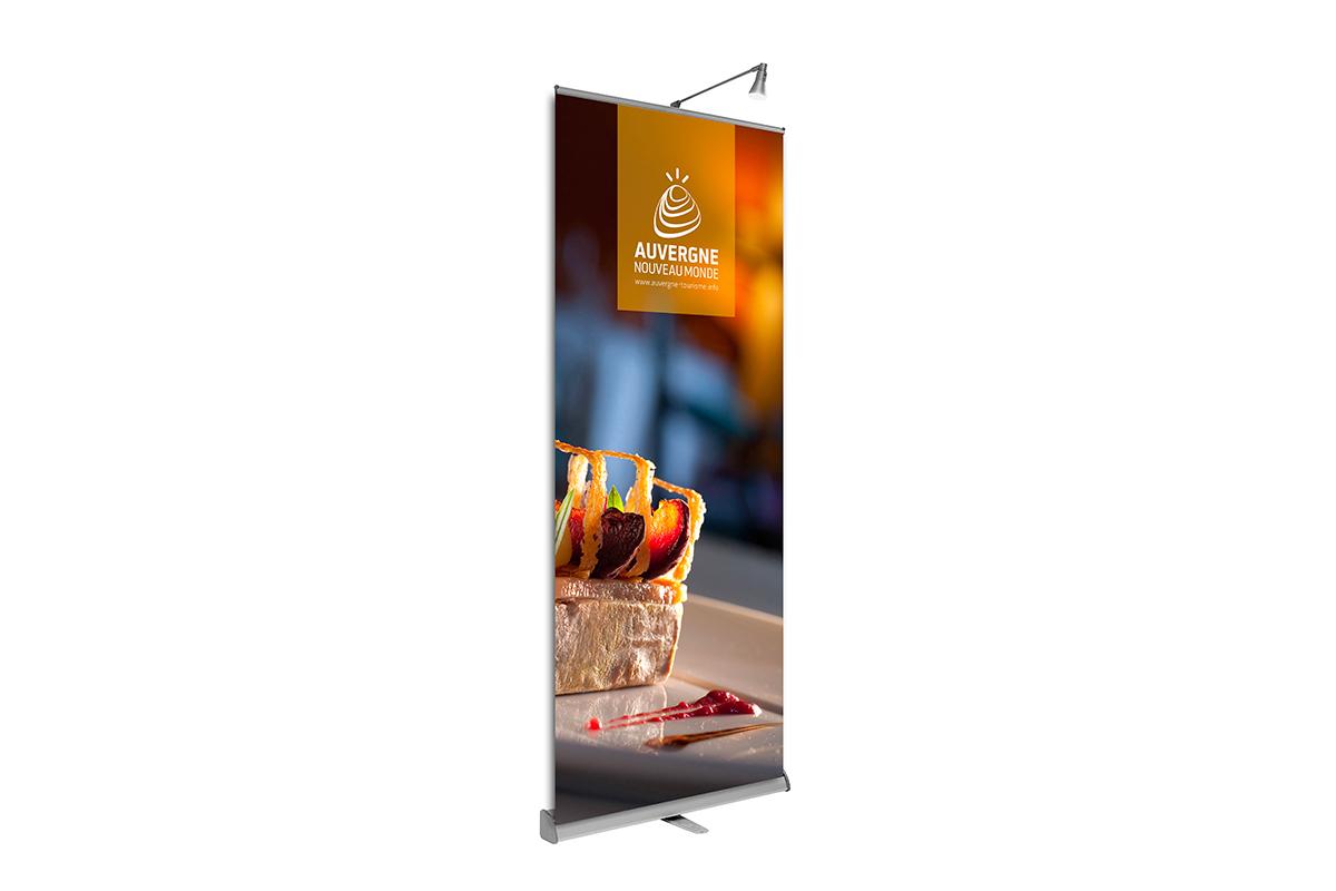 Roll up gastronomie créé pour la promotion touristique de la marque Auvergne Nouveau Monde