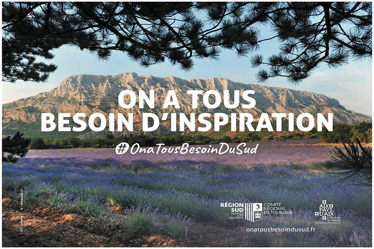 Affiche 4X3 réalisée pour Aix-en-Provence dans le cadre de la campagne on a tous besoin du Sud créée pour le Comité Régional du Tourisme de la Région Sud