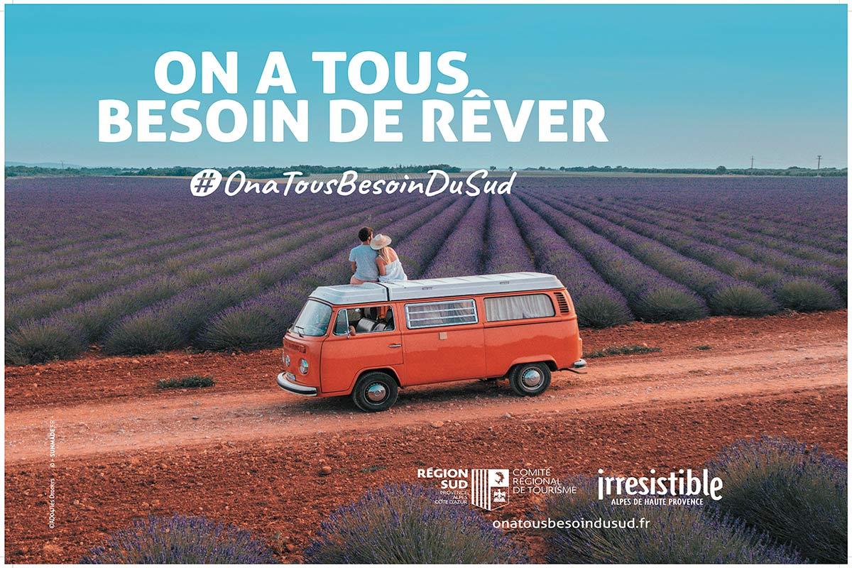 Affiche 4X3 réalisée pour le Vaucluse dans le cadre de la campagne on a tous besoin du Sud créée pour le Comité Régional du Tourisme de la Région Sud