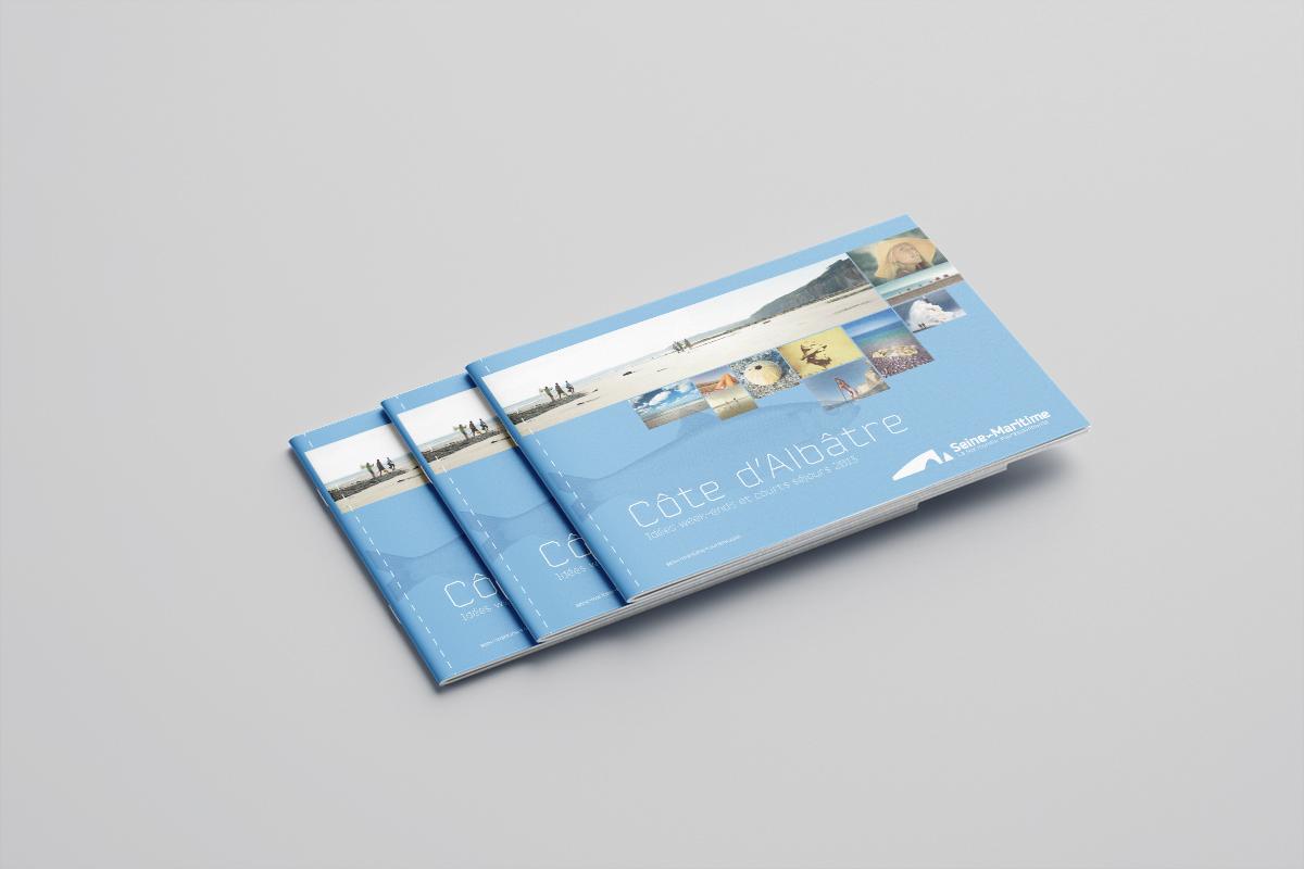 Présentation du principe graphiquede couverture pour les brochures tourisme de la Seine-Maritime, la Normandie impressionnante