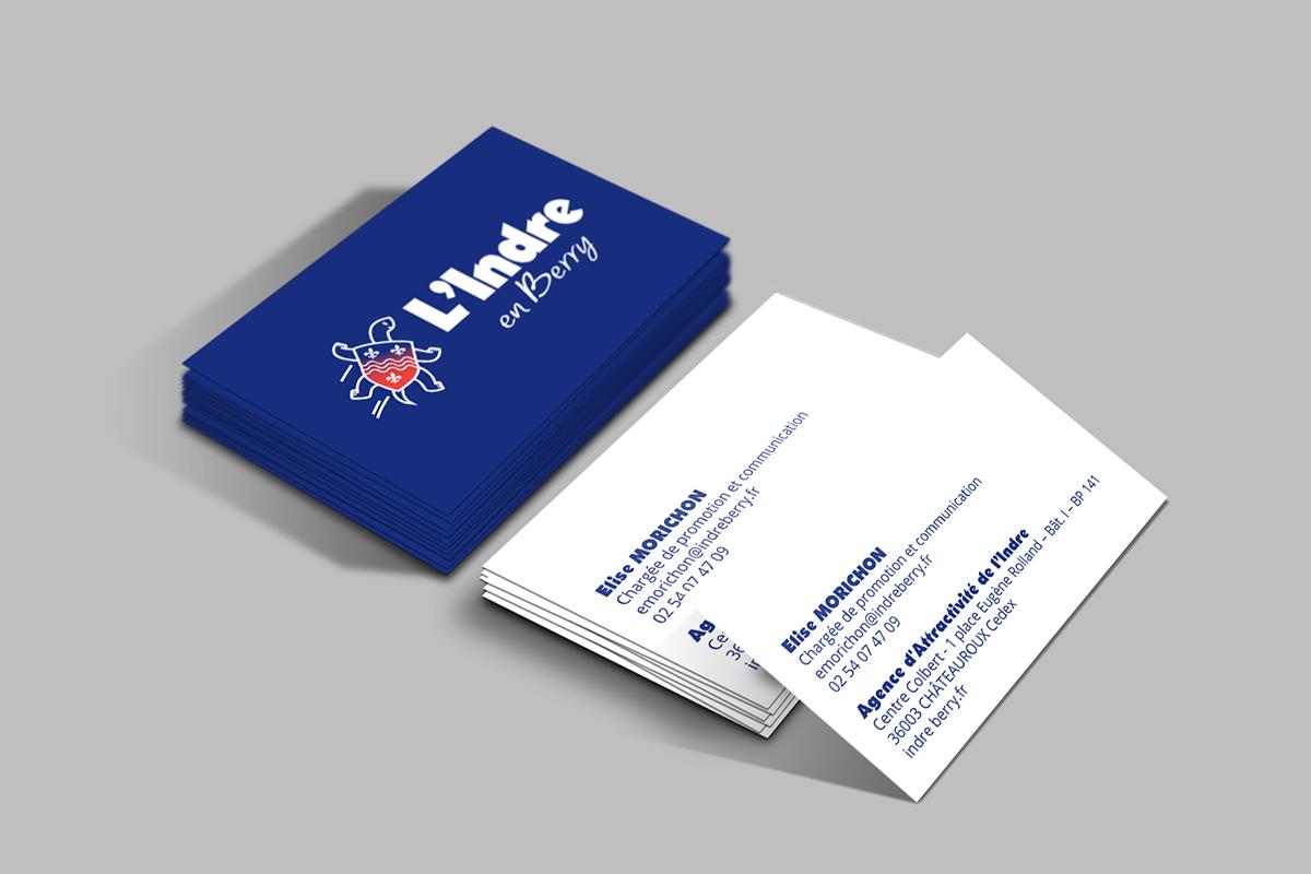 Guide de marque de l'Indre Cartes de visite réalisées pour le marketing territorial du département de l'Indre