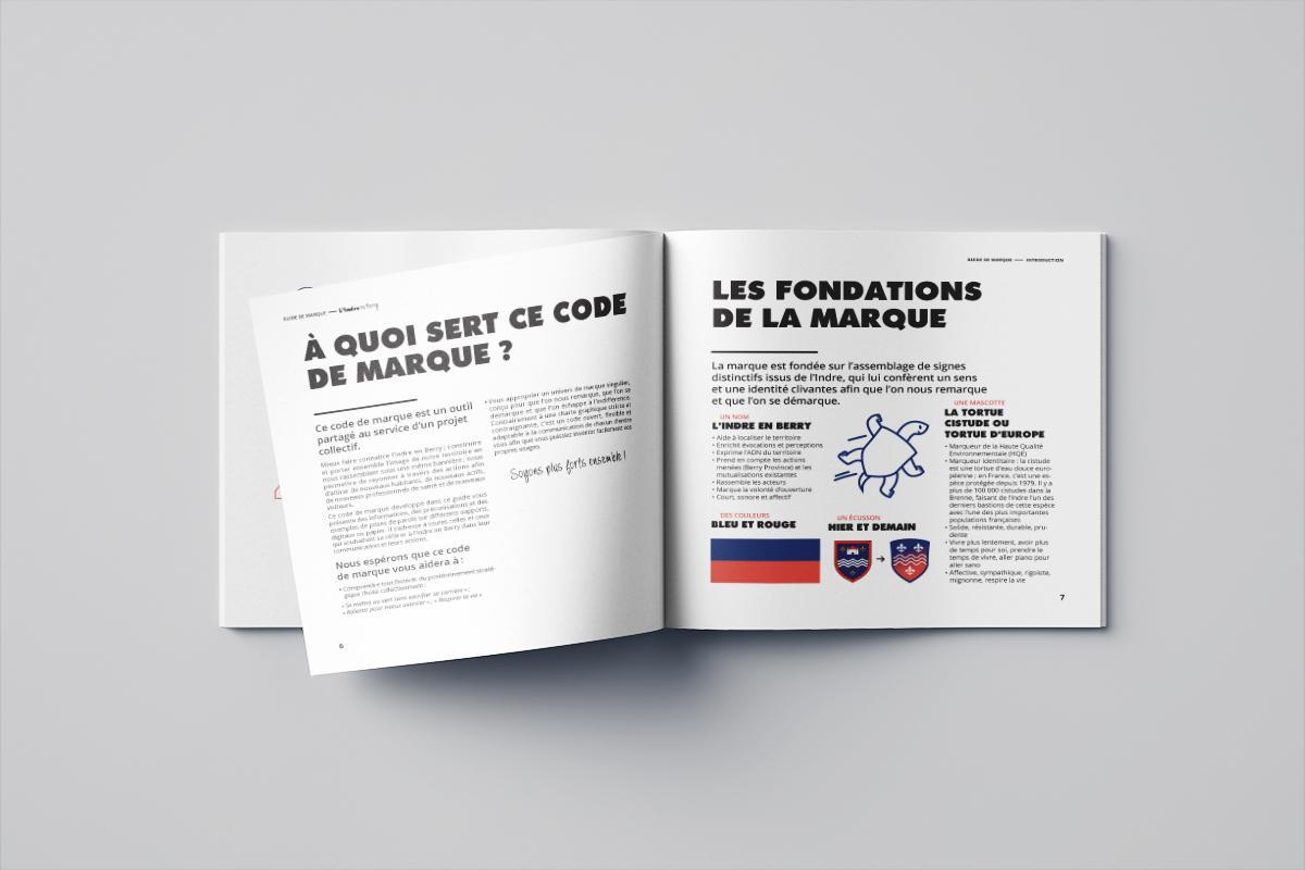 Guide de marque de l'Indre en Berry réalisé pour le marketing territorial du département de l'Indre