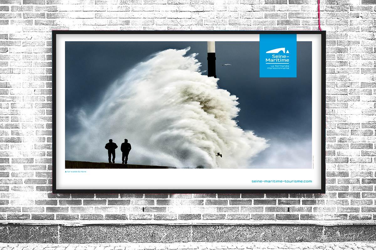 Poster pour la promotion du tourisme de la Seine-Maritime, la Normandie impressionnante